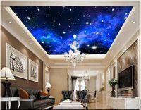Personalizado Papel tapiz fotográfico 3D grande murales del techo 3d papel tapiz Fantasía azul cielo estrellado salón zenith techo mural etiqueta de la pared