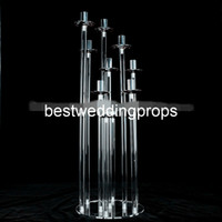 Nuevo estilo de decoración de mesa de boda Conjunto de acrílico Crystal Globe Gold Metal Candle Holder sets best01153