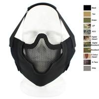 AIRSOFT Outdoor Shooting Face Protection Gear V8 Métal Métal Mesh Half Vase Tactique Airsoft Masque P03-005
