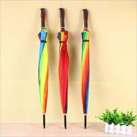 Nuovo Rainbow Umbrella per adulti lungo manico Rainy maniglia diritta Umbrella regalo pioggia lungo 120pcs maniglia sacco T2I417 /