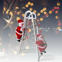 Музыка Санта-Клаус Электрический Climb Лестница висячие украшения рождественской елки украшения Новый год Детские подарки Navidad Рождество Фигурка JK1910