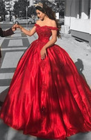 Épaule Rouge Robes De Bal Longue 2019 Pas Cher Perles Dentelle Robes De Soirée Formelles Quinceanera Douce 16 Robe Black Girls Cocktail Party Gown