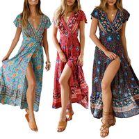 Frauen lange maxi kleider sommer böhmischen sexy v-ausschnitt kurzarm blumendruck dress weibliche strand vintage boho dress