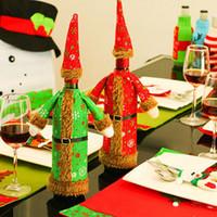 크리스마스 와인 병 커버 창조적 인 디자이너 봉제 적색 녹색 의류 모자 맥주 병 커버 와인 크리스마스 홈 레스토랑 장식 HHA948