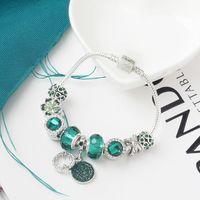 Pandora tarzı Yeşil Kristal Tetrafolium bilezik takı için uygun Toptan-çekicilik boncuk alaşım gümüş kaplı bilezik