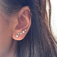 Moon Star Ear Climber Minuscolo Star Moon Orecchini per donna Everyday Teen Mothersday Celestial Gift Jewelry Earrring