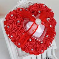 Новые формы сердца кольца Подушка с розовыми цветами Bowknot ленты Rhinetone Pearls подарки кольцо украшение свадебной партия Favor