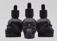 2oz skalle head form glas droppflaska 60ml klar frostat svart matt e cigarett vapen e flytande flaska anpassad förpackning