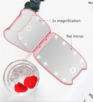 Großhandels3colors portable 8 LED-Leuchten Schminkspiegel doppelseitige Faltung mit Lupe kleinen Spiegel Tools