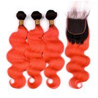 # 1B / Orange أومبير الهندي الجسم موجة الشعر البشري حزم مع إغلاق أومبير البرتقال متموجة الإنسان نسج لحمة الشعر مع إغلاق الدانتيل الجبهة 4X4