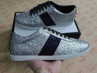 Blitter Designer Обувь Новый Человек Роскошный веб-Кронок с Шпильками Налос Лучшее Качество Известный Ace Вышитые для Женщин Серебряные Обувь
