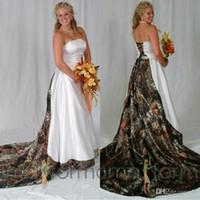 Vestidos de novia de camuflaje sin tirantes modernos en blanco y negro Una línea de tren de barrido con cordones Volver vestidos de novia vestido de novia