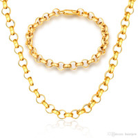 Collana a catena di collegamento cubana 18K Real placcato oro 316L collane in acciaio inox gioielli da uomo figaro collana catena d'oro