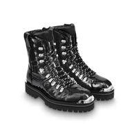 Патентная кожа черно-коричневый Martin Boot Mens дизайнерские сапоги роскошные плоские повседневные пинетки мужские женские ботильоны Outlander Ankle 3546
