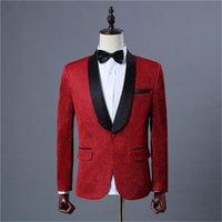 Erkekler Takım Elbise Blazers Damat Smokin Custom Made Düğün Erkekler Groomsmen GQER Sequins 2 Parça Düzenli Stil (Ceket + Pantolon + Kravat) E433