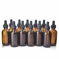 12pcs 60ml bottiglie di vetro ambrato contagocce bottiglia vuota Brown pipetta di vetro per oli essenziali Lab Chemicals contenitori cosmetici