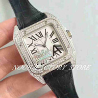 Relógio de fábrica automático 33mm relógios senhora ETA 2824 Full Pave Diamond Case Sapphire 100 XL Relógios Branco Mulheres Couro de Couro