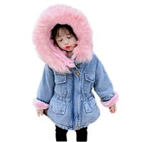 toddler kids fur coat classic hooded denim fur jacket coat for 2-8years child boys girls Winter thick coat clothes outerwear