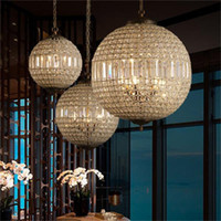 Modern LED Avizeler Aydınlatma Amerikan Vintage Kristal Top Lambası Oturma Odası Yemek Odası Bar Sanat Dekor Ev Aydınlatma