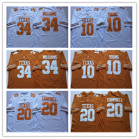 2019 Texas Longhorns Vince Young Football Maglie da calcio 20 Earl Campbell 34 Ricky Williams Fitched NCAA University Maglie Bianco Giallo