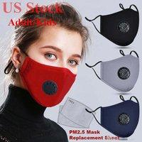 الولايات المتحدة سوق الأسهم! قابل للغسل الوجه قناع أقنعة مكافحة الغبار القابل لإعادة الاستخدام PM2.5 مع 2 تصفية أقنعة واقية صمام القطن أطفال الأطفال الوجه ركوب الدراجات التنفس