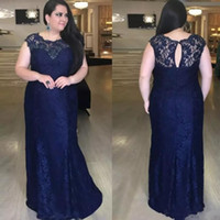 2020 Navy Blue Jewel Neck Lace Appliques Mother Of Bride Gro...