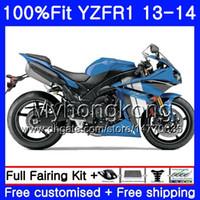 Corpo de injeção para YAMA YZF 1000 YZF R 1 YZFR1 2013 2014 242HM.17 YZF-1000 YZF R1 YZF1000 YZF-R1 13 14 Kit de Carenagem Completa azul brilhante
