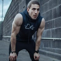 Mens Sleeveless Muscle Cool Running Jacken Gym Fitness Hoodie Tops Bodybuilding Baumwolle Kompressionshemd Fashion Nähte oben