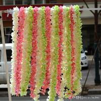 """2018 80"""" (200 cm) súper larga artificial de flores de seda Hortensia Wisteria Garland para el jardín de decoración de la boda Suministros de 6 colores disponibles"""