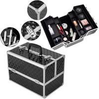 Makeup Train caso cosmético Sacos Estojos Professional Cosmetic Box com ajustável divisores Bandejas EUA de navio