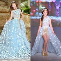 Vente chaude Bleu Princesse Fleur Filles Robes Pour Mariages Dentelle Enfants Tenue De Cérémonie De La Mode Pageant Outfit Tulle Robe