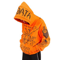 Hooded Hoodies with Orange Embroidery Mens Black Graffiti Sk...