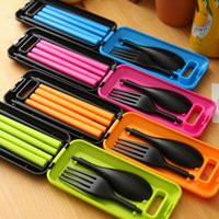 Separable Detachable Plastic Chopsticks Spoon Fork Cutlery S...