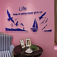 New arrival Seagull sailing boat sofa wall stickers Cartoon ...