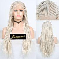 RONGDUOYI Platinum Blonde Geflochtene Box Zöpfe Perücke Lange 13x6 Synthetic Lace Front Perücken für Frauen tiefen Teil Blonded Haar-Spitze-Perücke