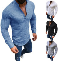 Men' s Solid Color Shirt Long Sleeve Stand Collar Half- o...