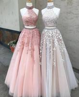 Nieuwe roze twee stukken prom jurken lang elegant off the shoulder hoge nek kant applicaties Crystal Gala avond feestjurk 2019