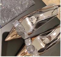 زفافي عرس أحذية براءات الاختراع والجلود المعادن مع الكريستال ربطة الكعب هريرة مصمم مضخات حجم الذهب والفضة 6cm و34-40