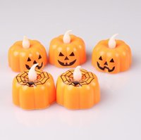 Halloween Pumpkin Candle Light Plastic Pumpkin Lamp Halloween Decoration Cute for Home Bar Dining Decoration LXL459-A