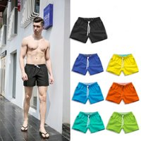 Solid Simple Surf Shorts Loose Beach Shorts Men Fast Dry Sho...