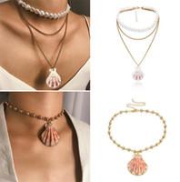 Einfache Mode Natürliche Muschel Halskette Perle Mehrschichtige Goldkette Halsketten Frauen Mädchen Boho Strand Schmuck Geschenk T220