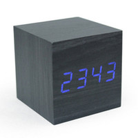 Wooden LED Alarm Clock With Thermometer Temp Date LED Displa...