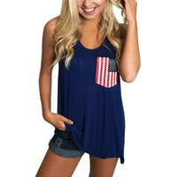 Independence Day Top Mujer Sleeveless Pocket Vest Patriotic ...