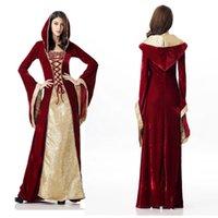 Vintage Sukienka Średniowieczna Dress Robe Kobiety Renaissance Dress Princess Queen Costume Velvet Court Maid Halloween Kostium Rocznik Kapturem Suknia