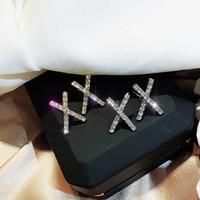 2019 New bonito Prata X brincos com Bling Zircon pedra por Mulheres moda jóias coreana Brincos