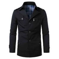 Erkek Tasarımcı ceketler Katı Renk Sonbahar Casual Slim Uzun kollu Yaka Boyun Kalın ceketler Erkek Moda Palto