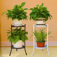 Fiore del metallo Vaso stand mensola del supporto della cremagliera Ferro Fiore mensola di esposizione 2 vassoio Giardino Balcone Patio casa Outdoor Indoor Decor