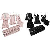Womens Plus Size Summer Faux Silk 5 Piece Pajamas Set Crochet Floral Lace Applique Trim Sleepwear Solid Color Nightgown Babydoll