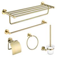 Prateleira do banheiro Toalheiros escovado latão banheiro Hardware Pendant Papel Toalheiros WC escova do ouro Bathrooom conjunto de acessórios
