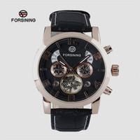 cb77d8eee48 Venda quente forsining relógios mecânicos automáticos dos homens de  negócios casuais esportes cinto de couro assista